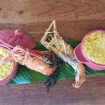 gites-guadeloupe-bungalow-table-dhotes-aperitif-restaurant-flan-papaye-verte-et-ouassous